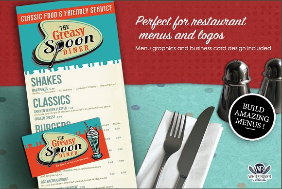 Retro Diner Linocuts Illustrations Creative Market