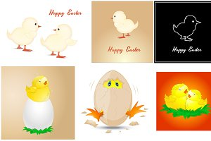 Easter Chickens Characters Vectors