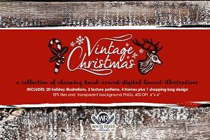 Vintage Christmas Linocuts