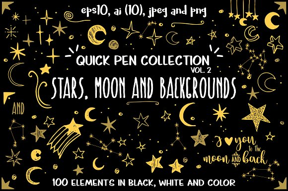 Stars, moon and backgrounds