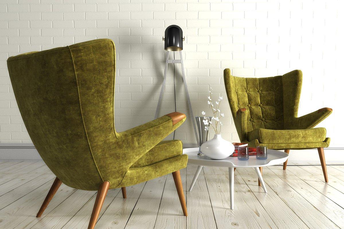 1211 Velvet Armchair High Quality 3d Furniture Models Creative