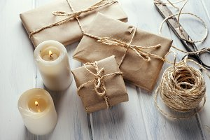 Gifts with kraft paper