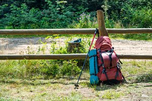 Backpack and trekking pole