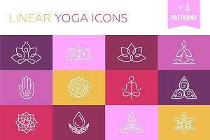 Vector linear yoga icons