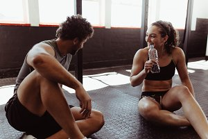 Couple taking a break after workout