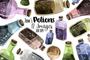 Watercolor Potions Clipart