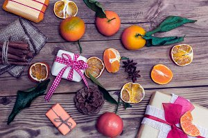 Christmas gifts and tangerines