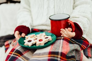 Woman enjoying her christmas cookies