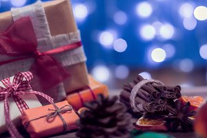 holidays gifts with bokeh