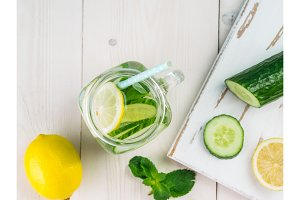 infused detox water with cucumber, lemon and mint