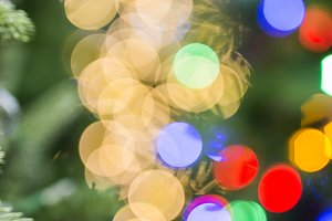 Sparkling Christmas light bokeh phot