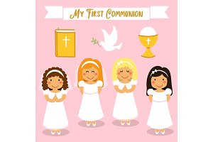 Cute set of design elements for First Communion for girls