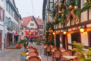 Christmas street in Strasbourg, Alsace, France