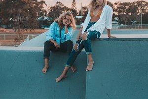 Young female models at skate park