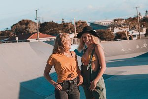 Young female models at skate park