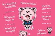 Business Cute Pig Clipart