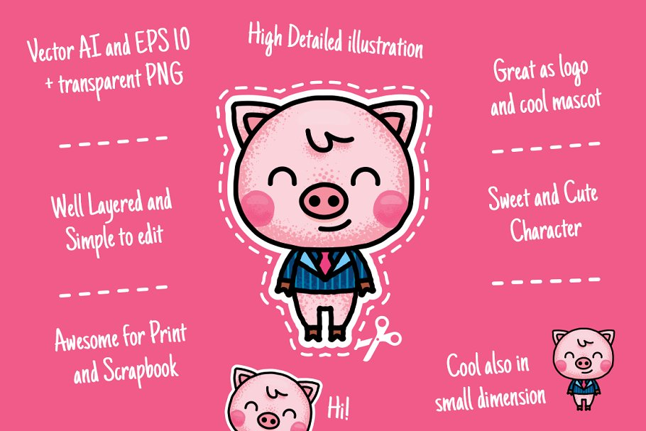 Business Cute Pig Clipart