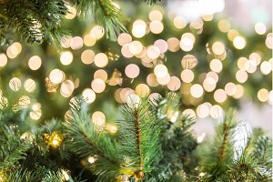 Golden Christmas light bokeh