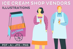 Ice Cream Vendors Illustration Set