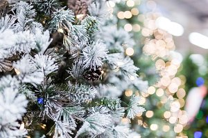 White Christmas tree and gold bokeh