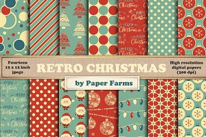 Retro Christmas digital paper
