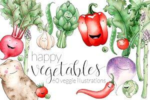 Happy Watercolor Vegetables