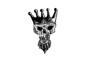 King Beard Skull Scratchboard