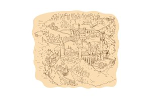 Medieval Fantasy Map Drawing