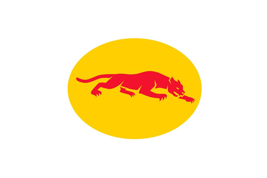 Panther Crouching Oval Retro in Illustrations - product preview 8