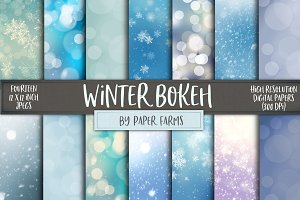 Winter bokeh digital paper