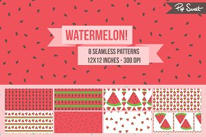 Seamless Watermelon 8 Pattern Set