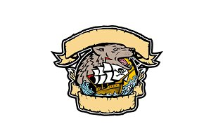 Angry Wolf Pirate Ship Banner Retro