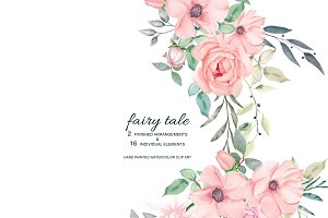 Watercolor Blush Roses Set