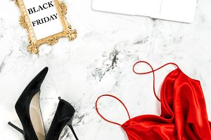 Black Friday Shopping flat lay