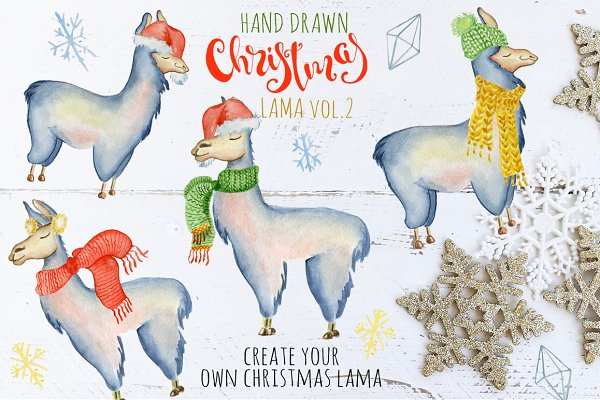 Christmas lama watercolor creator 2