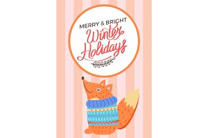 Merry Christmas and Bright Winter Holidays Fox
