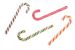 Candy cane striped isolated on white background. Top view