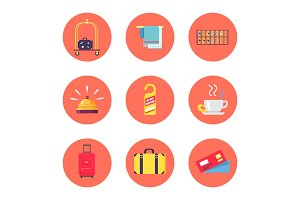 Hotel Stuff and Baggage Icons Vector Illustration