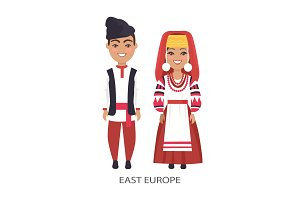 East Europe Costumes on Vector Illustration White