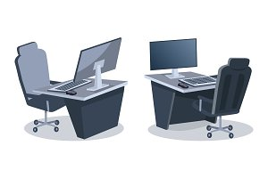 Two Desks With Computers Vector Illustration