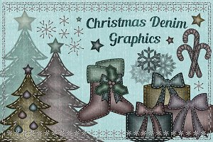 Christmas graphics clipart set denim