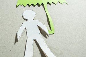 Fugire of men and umbrella.