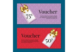 Voucher on 50 -75$ Set of Posters Gold Tags Label