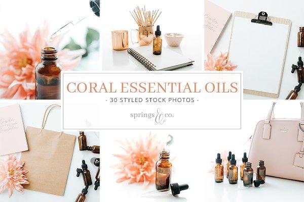Coral Essential Oils Stock Photos