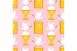 Cute seamless pattern for First Communion for girls