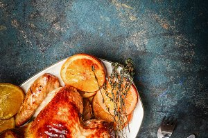 Roasted chicken with oranges