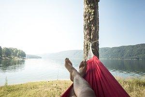 Man in hammock on mountain