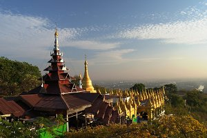 Landscape to Mandalay from hill, Myanmar