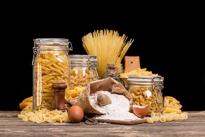 Still life of raw pasta