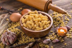 Fusilli raw pasta